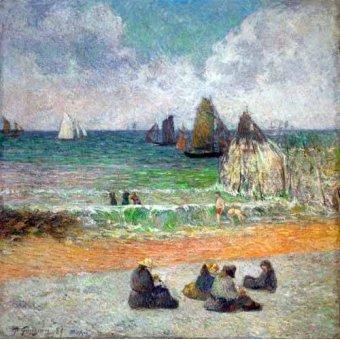 Tableaux de paysages marins - Tableau -La plage a Dieppe ou les Baigneuses, 1885- - Gauguin, Paul