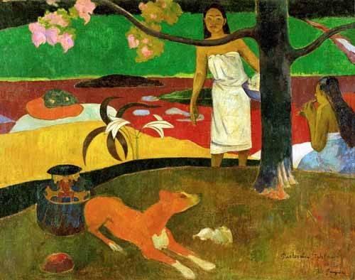 tableaux-de-paysages - Tableau -Tahitian Idyll- - Gauguin, Paul