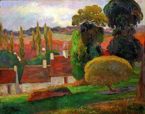 tableaux-de-paysages - Tableau -A farmhouse in Brittany,1894- - Gauguin, Paul