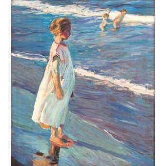 Tableaux de Personnages - Tableau -Petite fille sur la plage- - Sorolla, Joaquin