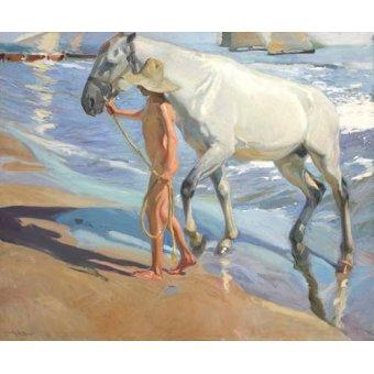 Tableaux de faune - Tableau -Le bain du cheval- - Sorolla, Joaquin