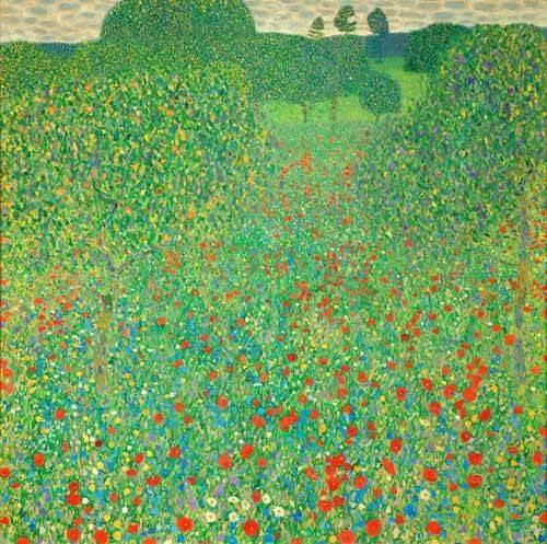 tableaux-de-paysages - Tableau -Champ de coquelicots- - Klimt, Gustav