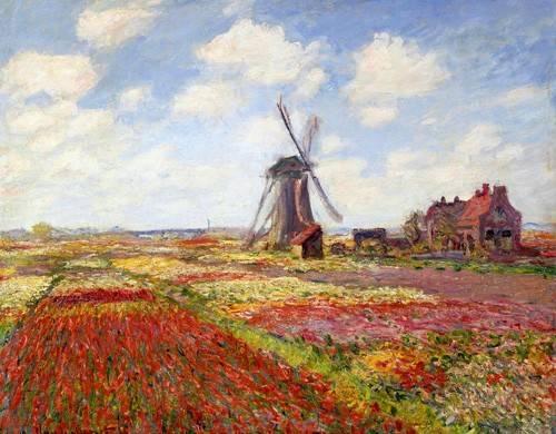 tableaux-de-paysages - Tableau -Champs de tulipes avec le moulin à vent de Rijnsburg, 1886- - Monet, Claude