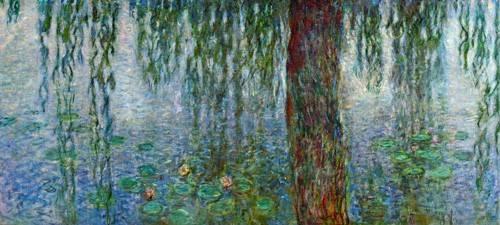 tableaux-de-paysages - Tableau - Nymphéas, Matin avec saules pleureurs, (partie gauche) - - Monet, Claude