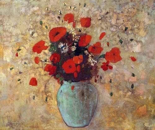 cuadros-decorativos - Tableau - Vase aux coquelicots - - Redon, Odilon