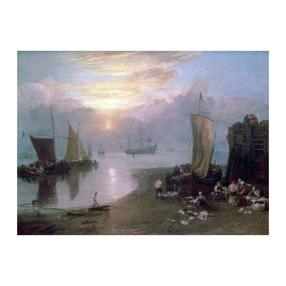 pinturas de paisagens marinhas - Quadro -Sun Rising Through Vapour Fishermen Cleaning and Selling Fish,