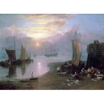Tableaux de paysages marins - Tableau -Sun Rising Through Vapour Fishermen Cleaning and Selling Fish, - Turner, Joseph M. William