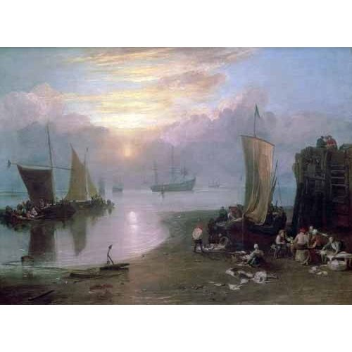 Tableau -Sun Rising Through Vapour Fishermen Cleaning and Selling Fish,