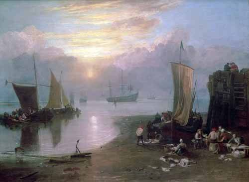 tableaux-de-paysages-marins - Tableau -Sun Rising Through Vapour Fishermen Cleaning and Selling Fish, - Turner, Joseph M. William