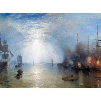 Tableaux de paysages marins - Tableau -Keelmen heaving in coals by night- - Turner, Joseph M. William