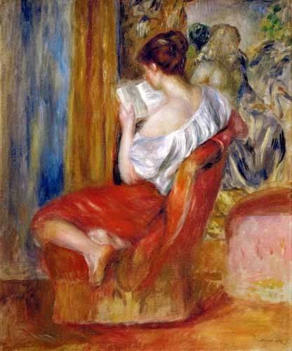 tableaux-de-personnages - Tableau -Femme lisant- - Renoir, Pierre Auguste