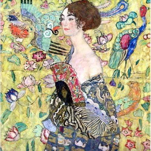 pinturas do retrato - Quadro -Mujer con abanico, 1918-