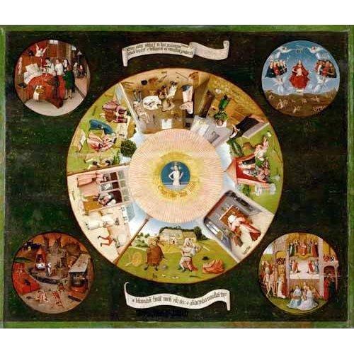 Tableau -Les Sept Péchés capitaux et les Quatre Dernières Étapes humaines, 1485-