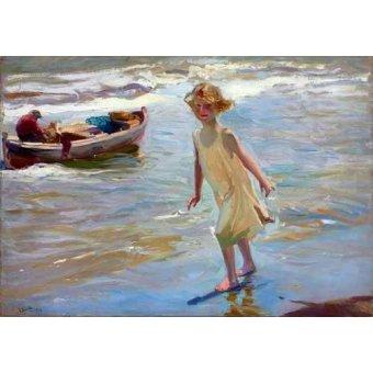 Tableau -Petite fille marchant sur la plage-