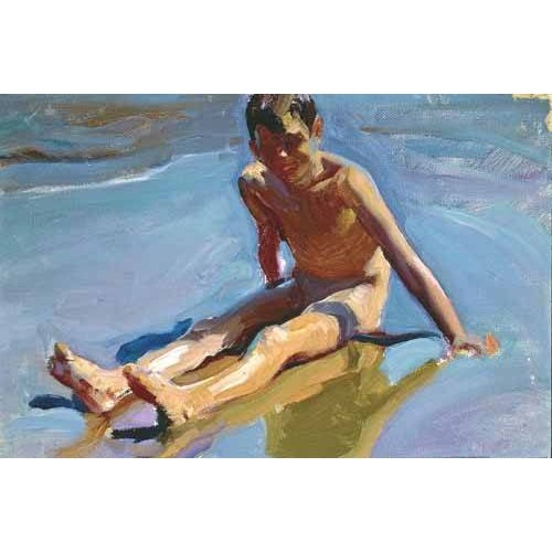 pinturas do retrato - Quadro -Niño en la playa-