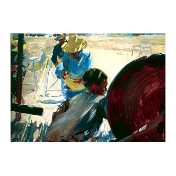 pinturas do retrato - Quadro -Pescadores en la playa-