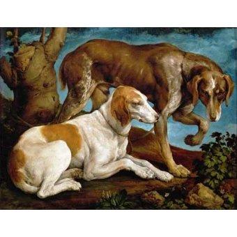 Tableaux de faune - Tableau -Dos perros de caza- - Bassano, Jacopo da Ponte