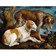 Tableau -Dos perros de caza-