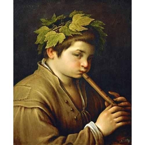 pinturas do retrato - Quadro -Boy with flute-