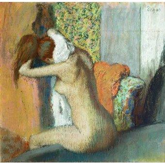 Tableaux de Nus - Tableau -Après le bain, femme nue s'essuyant la nuque, 1898- - Degas, Edgar