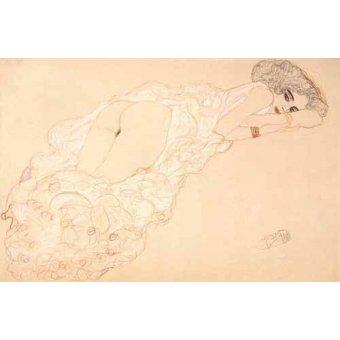 Tableaux de Nus - Tableau -Partiellement drapée nu couché sur le ventre, 1910- - Klimt, Gustav