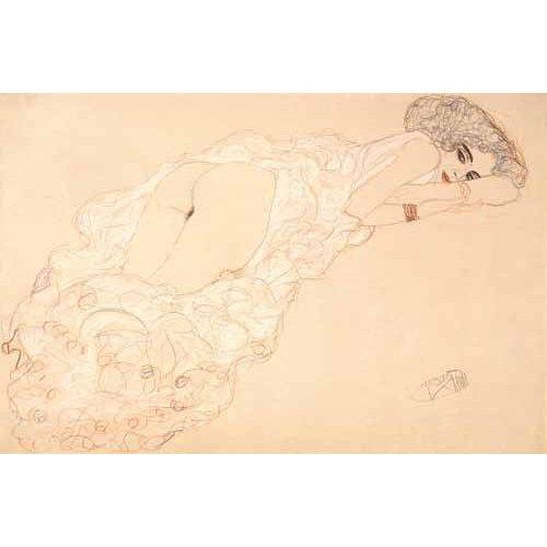 Tableau -Partiellement drapée nu couché sur le ventre, 1910-