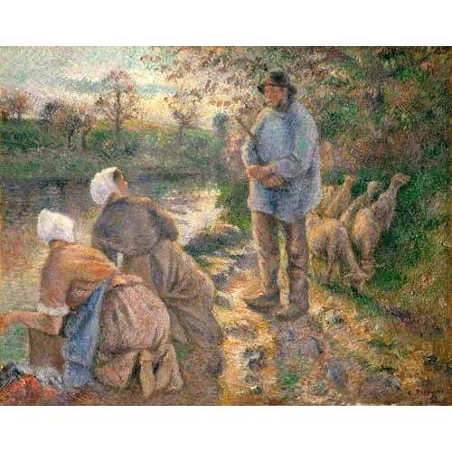 Tableau -Le Berger et les Laveuses, 1881-