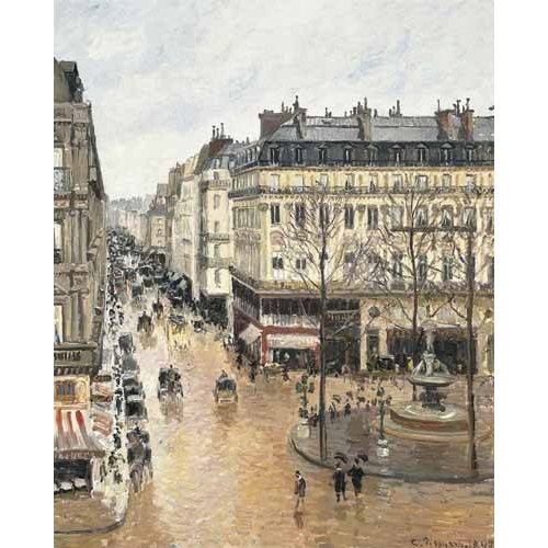 pinturas de paisagens - Quadro -Rue Saint Honoré aprés-midi (1897), efecto lluvia-