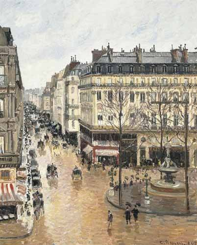 tableaux-de-paysages - Tableau -Rue Saint-Honoré dans l'après-midi (1897), effet de pluie- - Pissarro, Camille