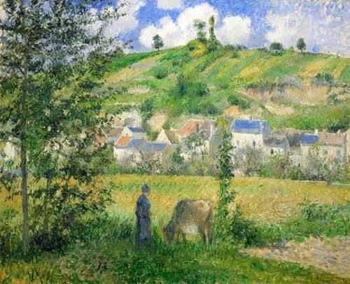 tableaux-de-paysages - Tableau -Paysage à Chaponval, 1880- - Pissarro, Camille