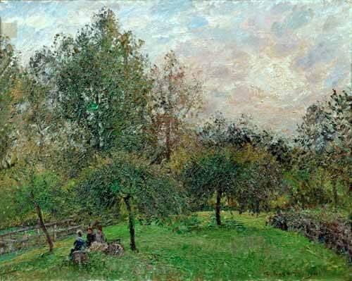 tableaux-de-paysages - Tableau -Pommiers et peupliers au soleil couchant, 1901- - Pissarro, Camille