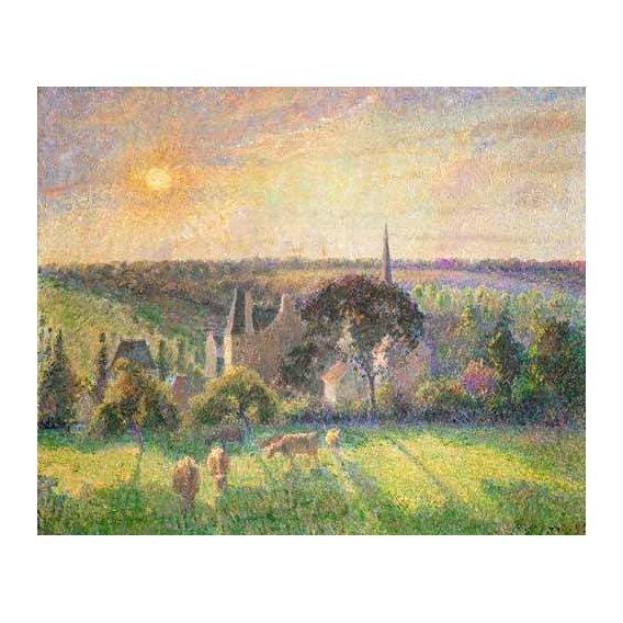 pinturas de paisagens - Quadro -Landscape at Eragny, France (1895)-