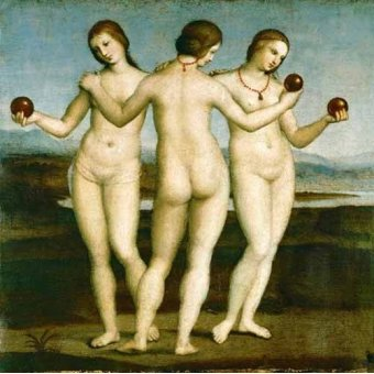 Tableaux de Nus - Tableau -Las Tres Gracias- - Raphaël, Sanzio da Urbino Raffael
