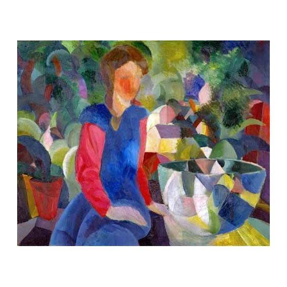 pinturas do retrato - Quadro -Jovencita con pecera-