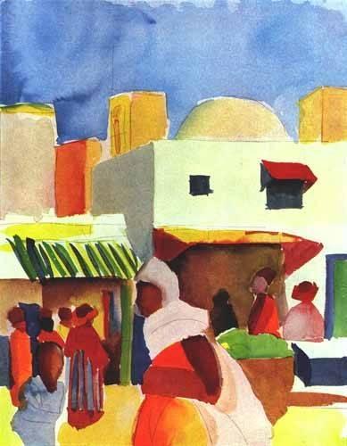 tableaux-de-paysages - Tableau -Por el bazar- - Macke, August