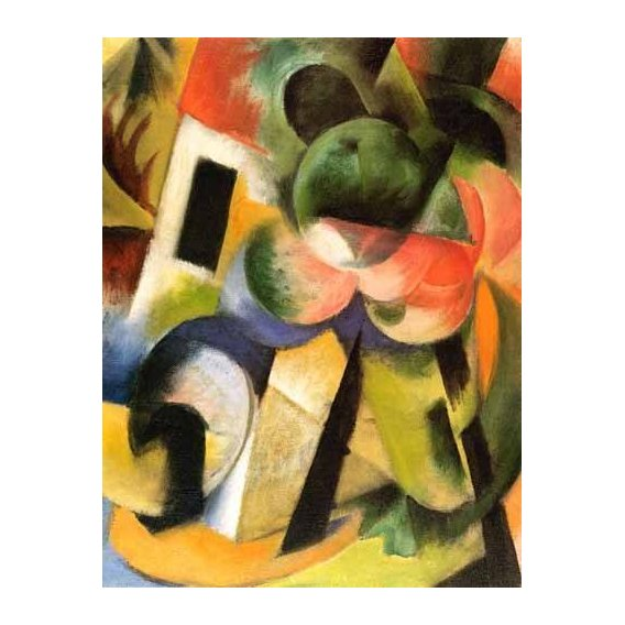 pinturas abstratas - Quadro -Kleine Komposition-II (haus-mit-baeumen)-