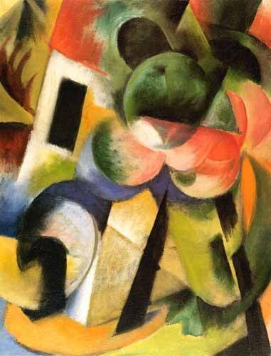tableaux-abstraits - Tableau -Kleine Komposition-II (haus-mit-baeumen)- - Marc, Franz