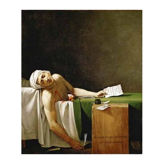 pinturas do retrato - Quadro -Jean Paul Marat, dead in his bathtub (Muerte de Marat)-