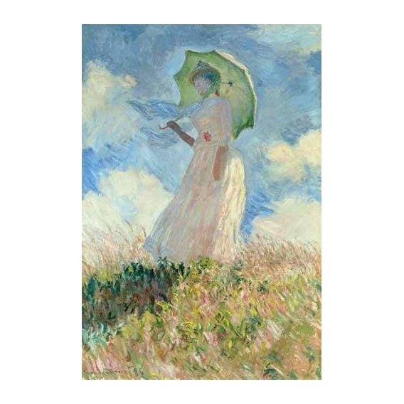 pinturas do retrato - Quadro -Estudio de mujer con parasol girada a la izquierda, 1886-