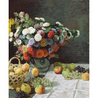 Tableaux nature morte - Tableau -Nature morte avec fleurs et fruits, 1869- - Monet, Claude