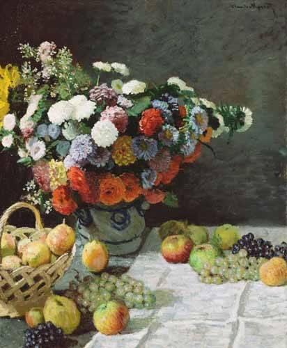 tableaux-nature-morte - Tableau -Nature morte avec fleurs et fruits, 1869- - Monet, Claude