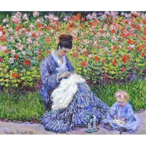 pinturas do retrato - Quadro -Camille Monet con un bebe en el jardin, 1875-