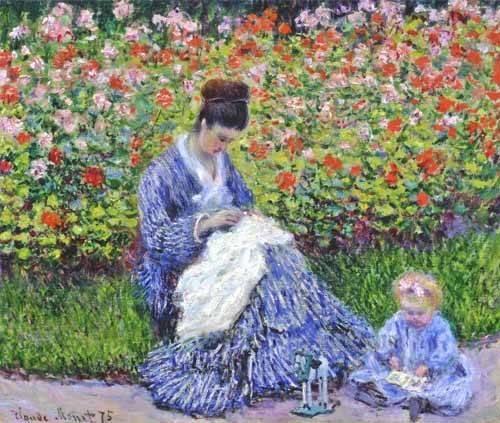 tableaux-de-personnages - Tableau -Camille Monet et un enfant au jardin, 1875- - Monet, Claude