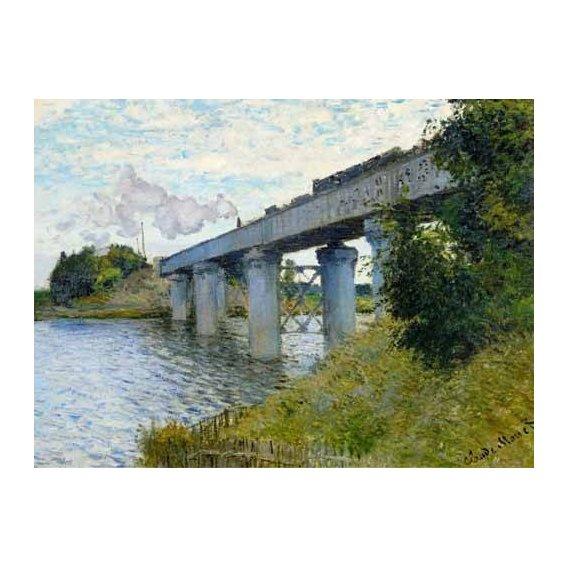 pinturas de paisagens - Quadro -El Puente Ferroviario En Argenteuil, 1874-