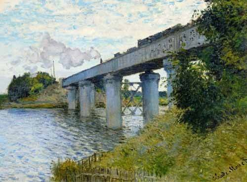 tableaux-de-paysages - Tableau -Le Pont du chemin de fer à Argenteuil, 1874- - Monet, Claude