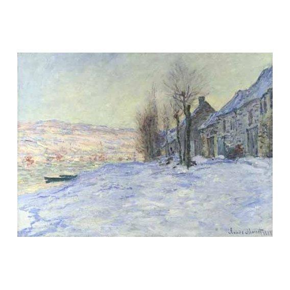 pinturas de paisagens - Quadro -Lavacourt bajo la nieve, 1879-