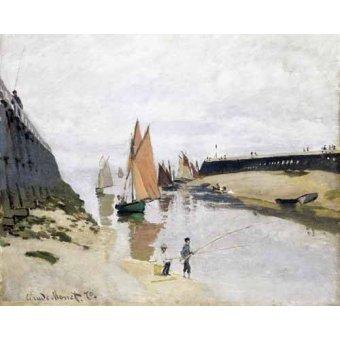 Tableaux de paysages marins - Tableau -L'entrée du port de Trouville, 1870- - Monet, Claude