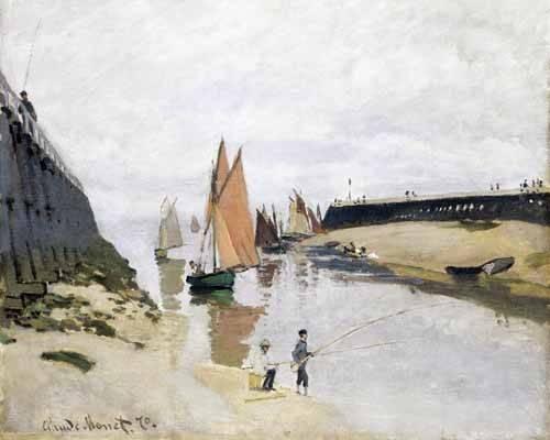 tableaux-de-paysages-marins - Tableau -L'entrée du port de Trouville, 1870- - Monet, Claude