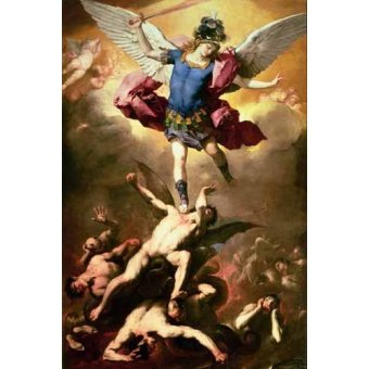 Tableaux religieuses - Tableau -The Archangel Michael hurls the rebellious angels into the abys - Giordano, Luca (Lucas Jordan)