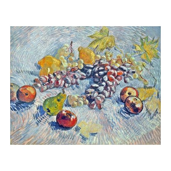 naturezas mortas - Quadro -Grapes, Lemons, Pears, and Apples, 1887-